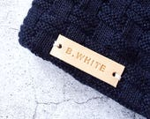 Custom Leather Label - Personalised Name Label - Personalised Initial Tag - Knit accessories