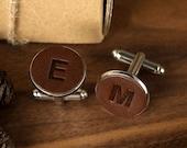 Groom Cufflinks - Initials Leather Cufflinks - Personalized Wedding Cuff links - Monogram Cufflinks for Groom - 3rd Anniversary Gift for Him
