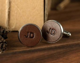 vintage leather cufflinks as father of bride gift Monogram cufflinks as valentines gift customized cufflinks as gift for husband