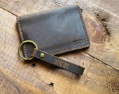 Personalised Leather Card Holder - Mens Card Wallet - Minimalist Credit Card Holder - Anniversary Gifts for Him - Fathers Day Gift - 4 slots