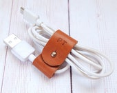 Personalized Leather Wire Organizer - Earbuds Holder - Cord Organizer - Wire Organizer - Gifts for him - Anniversary Gift - Gifts under 10