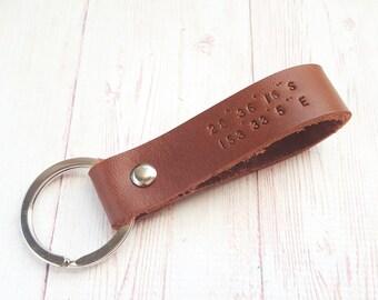 Personalized Coordinate Leather Keychain - Custom Latitude Longitude GPS Key Fob - Anniversary Gift - Wedding Gifts for Couple