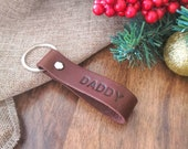 Personalised Dad Leather Keyring - Personalized Daddy Daughter Keychain - Gift for dad - Fathers Day Gift - Daughter to Father Gifts