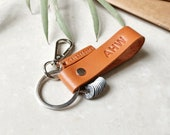 Personalised Leather Keychain with Milestone Rings