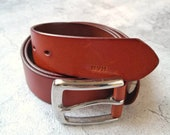 Personalised Leather Belt - Saddle Tan Belt - Custom Leather Gift for Him - Third Anniversary Gifts for Men - Fathers Day Gift