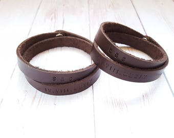 Custom Couple Leather Bracelet - Personalized Message Leather Wristband - Double Wrap Bracelet - Anniversary Gifts - Gifts for Him