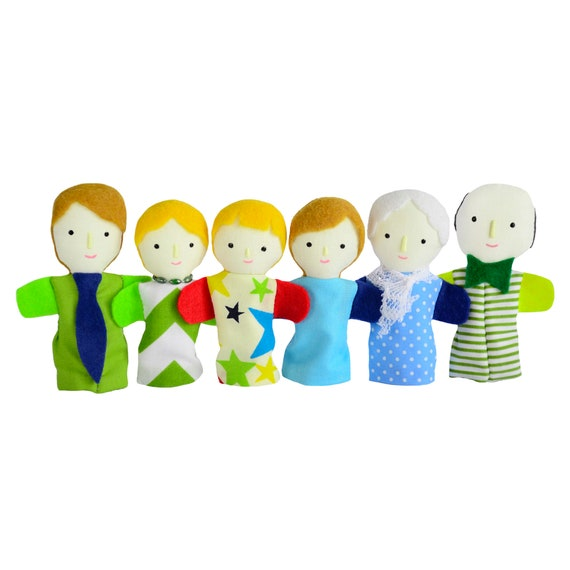 Family of six finger puppets with light skin color.