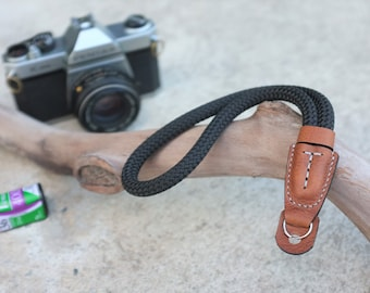 TorMake Hand strap wrist strap from rope and Genuine leather for all Film,Digital,Mirrorless Camera Strap,Black and Olive or Green