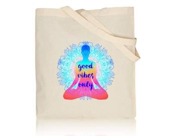 646eab6b33 Yoga Tote Bag - Natural Cotton Shoulder Tote Bag 100% Natural Cotton  Fashion / Yoga / Shopping / Beach Bag / Gym