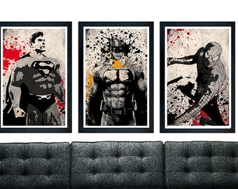 Superhero Trilogy Poster Set, Spiderman, Batman, Superman.