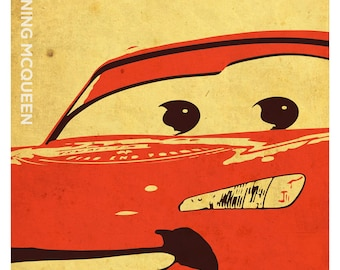 Cars Inspired Poster Set, Mcqueen, Mater, Doc Hudson Minimalistic Grunge Style Print