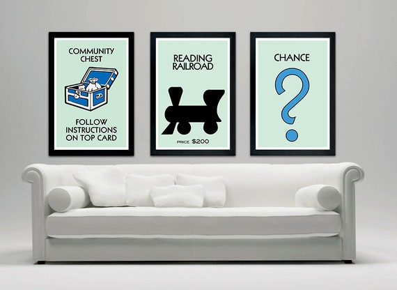 Monopoly Inspired Poster Set Wall Decor Community Chest | Etsy