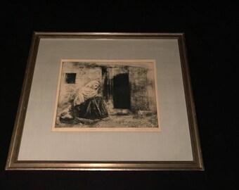 c.1968 Aquatint Etching SEATED FIGURE, MEXICO Haim Mendelson