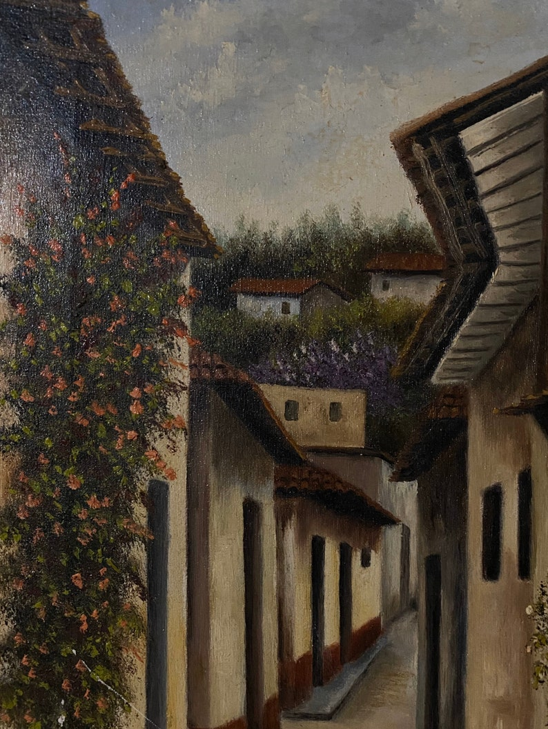 c.1970 Oil On Canvas Italian Landscape Painting