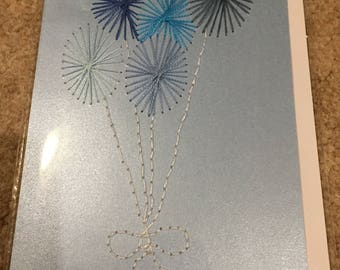 Hand Stitched Card *Congratulations Birthday* Blue Balloons
