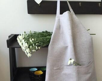 Eco-friendly present, apron with pockets, linen apron, full apron, kitchen apron, organic apron, natural linen apron, full apron women