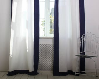 Navy blue and white linen drape, back tabs, 100% linen curtains, draperies with contrasting borders, curtain with edge