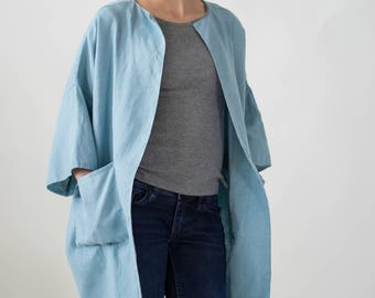 Sky blue color linen jacket. Oversized linen cardigan. Long linen coat. Kimono cardigan with pockets