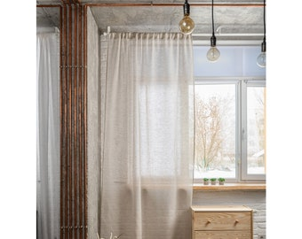 Linen Sheer Curtain Natural Color - Linen Voile - Rod Pocket Heading