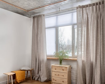 Back Tab Linen Curtains, Drapes with Hidden Tabs, White, Off-white, Oatmeal or Grey and more Colours