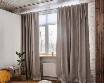 Linen Back TabCurtain Panel with Blackout Lining- 53'' Width, Custom Length - Natural Linen Oatmeal/White/Grey Colors
