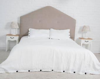 Off White Linen 3 Pcs Bedding Set With Black Buttons Decor, Duvet Cover Set,  Queen, King, California King Sizes, Flax Linen Bedding Set