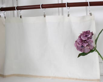 Cafe curtain, linen cafe curtain, privacy curtain, sheer curtain, off-white and white colors