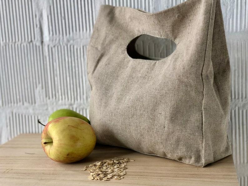 Natural Fabric \u00a0Lunch Bag Beige Neutral Color Linen Canvas Linen Hand Bag Clutch