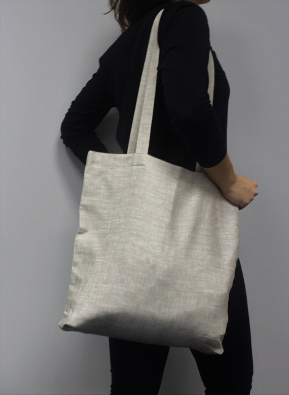 Linen Everyday Tote   Natural Casual Bag   Grey Shoulder Bag   Organic Long Taps Tote   Universal Linen Tote Bag   Beach Canvas Tote by Etsy