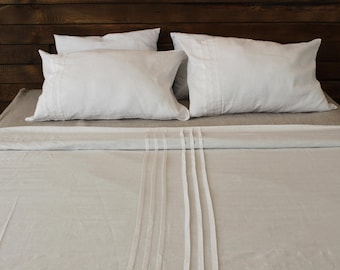 Linen duvet cover, Scandinavian style white linen bedding, white bedroom set, natural linen duvet cover, simple bedding
