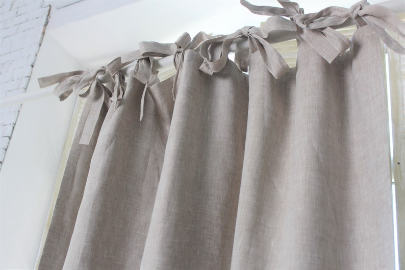 SALE Top Ties Linen Curtain With Blackout Lining Natural Linen Curtain With Ties 63 X 90