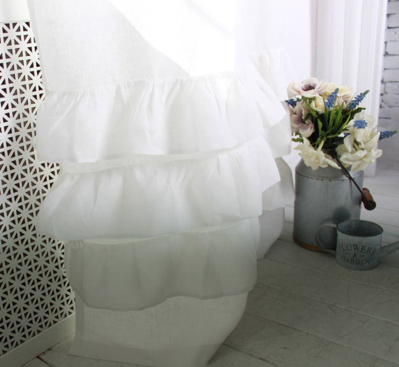 lined with blackout Linen romantic curtain with ruffles rod pocket top