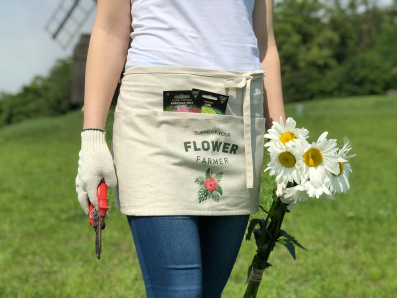 Half Gardening Apron Pinafore with Print and Multiple Pockets Florist Linen Apron