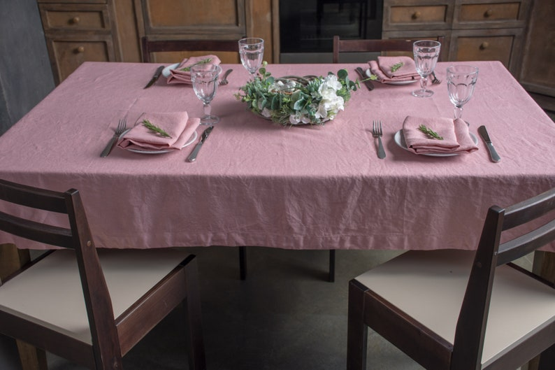 Pink Linen Tablecloth   Dinner Table Cloth   Wedding Party Table Linen    Square Table