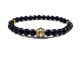 Black Onyx Beaded Bracelet - Men's Bracelet -Beaded Bracelet for Men - Stretch bracelet - Handmade Bracelet - Men's Jewelry