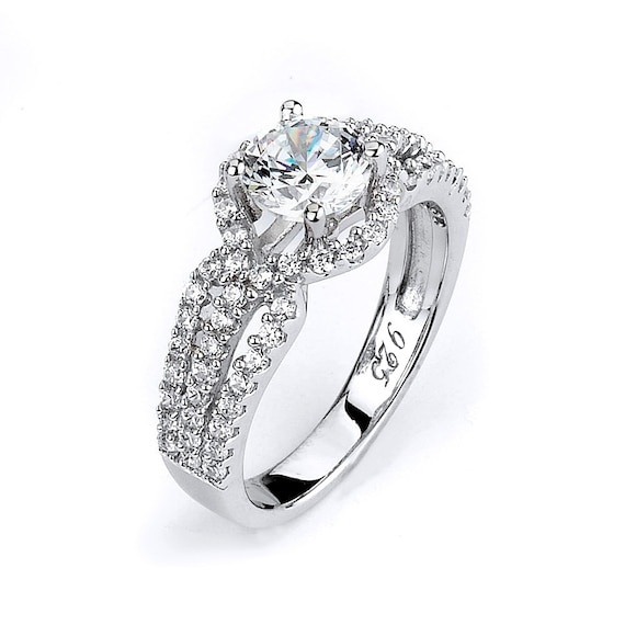 Classic Design Cubic Zirconia Silver Rhodium Triple Shank 1 Carat CZ Engagement Ring