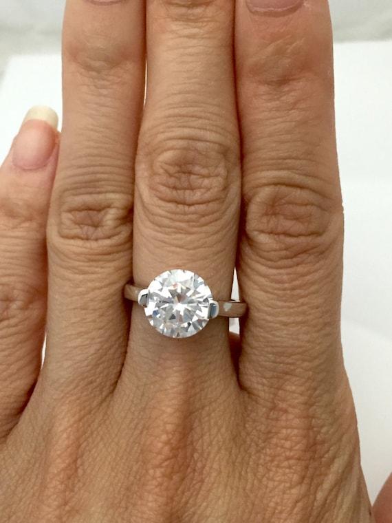 CZ Sparkle Jewelry 3 Carat Round CZ Engagement Ring