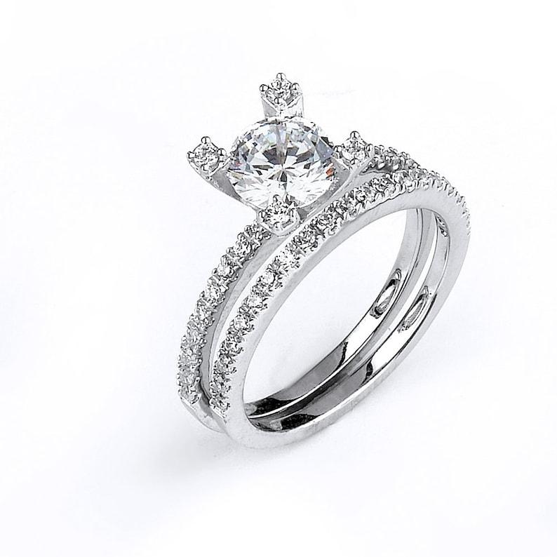Prong Set 1 Carat Center Cz Bridal Engagement Wedding Ring Set Cubic Zirconia Stone Setting Silver Rhodium