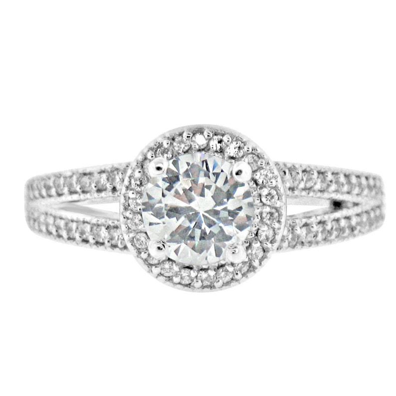 1.25 Carat Cubic Zirconia CZ Wedding Engagement Ring Halo Split Shank