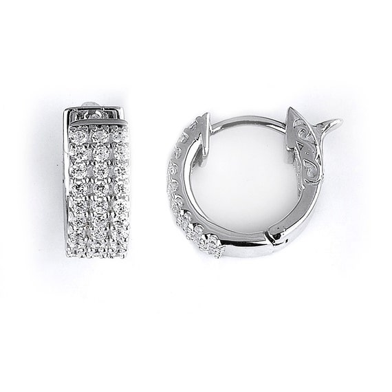 26ed50d9a89c2 3 Row Cubic Zirconia Hoop Earrings - Sterling Silver Rhodium Plated CZ
