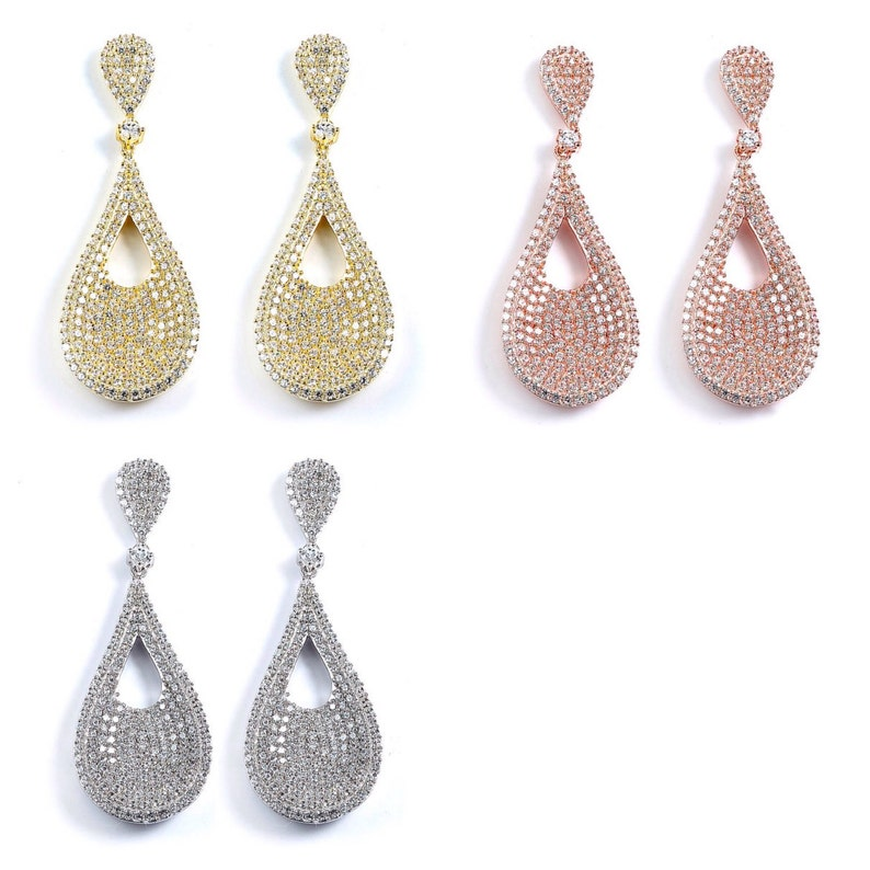 061f5887adaed 14K Gold Plated Sparkling Tear Drop Dangle Earrings - Cubic Zirconia Yellow  Gold Rose Gold Pink Gold CZ