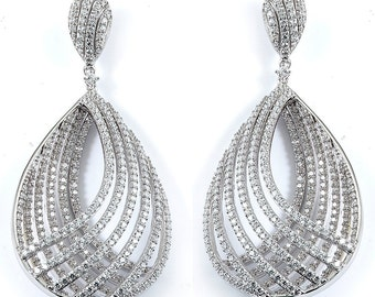 Fine Micro Pave Cubic Zirconia Gold Plated Sterling Silver Designer Drop Earrings CZ