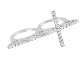 CZ Cross Multi Finger Ring 2 Double Finger Cubic Zirconia Sterling Silver Rhodium  - Religious Faith