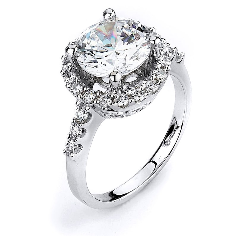 14K White Gold Large Round Cubic Zirconia Solitaire Engagement Ring 10mm CZ Ctr