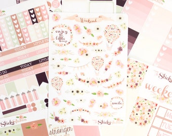 Signature TheStickyStation Set - Gorgeous Floral Pastel Sticker Kit - Functional & Decorative, for ECLP, Planners, Crafts