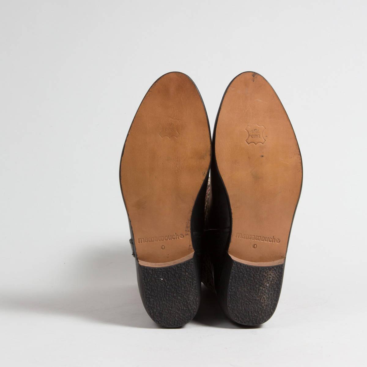 Bottines Kilim Artisanales Noires Pastel - Mujers Mujers Mujers - En cuir de veau véritable - Authentique tapis Kilim Berbère Vintage - (Réf. RPN9-38) 2163c2