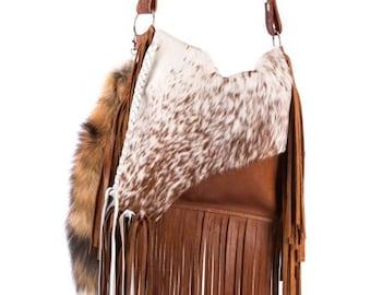 fd56c6f11 Brindle Boho Western Distressed Cowhide Leather Fringe Handbag Rodeo Crossbody  Purse