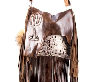 a5d4436c4 Special Order* Boho Western Distressed Cowhide Croco Leather Fringe Handbag  Rodeo Purse w/ Cactus