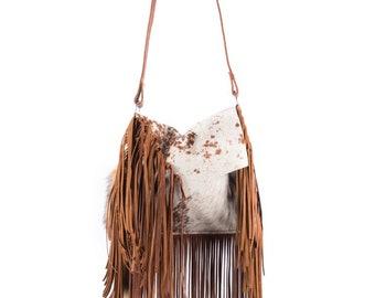 154c033cd Made To ORDER* Boho Western Cross Body Cowhide Handbag Rodeo Purse w/ Fringe