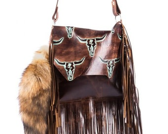 094205a1a Boho Western Distressed Cowhide Leather Fringe Handbag Rodeo Purse w/  Turquoise Longhorn Steer